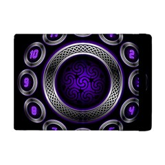Digital Celtic Clock Template Time Number Purple Apple Ipad Mini Flip Case by Mariart