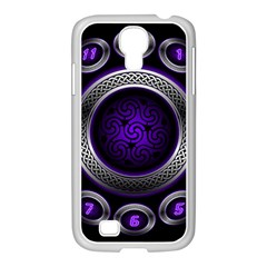 Digital Celtic Clock Template Time Number Purple Samsung Galaxy S4 I9500/ I9505 Case (white) by Mariart