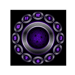 Digital Celtic Clock Template Time Number Purple Small Satin Scarf (square) by Mariart