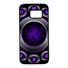 Digital Celtic Clock Template Time Number Purple Samsung Galaxy S7 Black Seamless Case