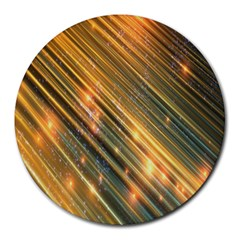 Golden Blue Lines Sparkling Wild Animation Background Space Round Mousepads by Mariart