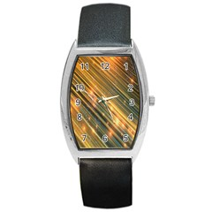 Golden Blue Lines Sparkling Wild Animation Background Space Barrel Style Metal Watch by Mariart