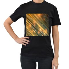 Golden Blue Lines Sparkling Wild Animation Background Space Women s T-shirt (black) (two Sided)