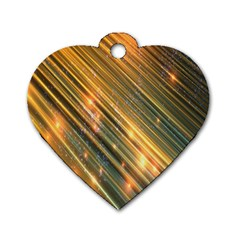 Golden Blue Lines Sparkling Wild Animation Background Space Dog Tag Heart (two Sides) by Mariart