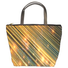 Golden Blue Lines Sparkling Wild Animation Background Space Bucket Bags by Mariart