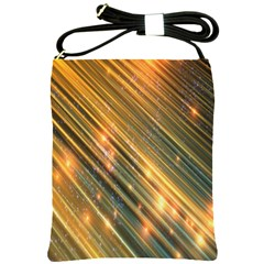 Golden Blue Lines Sparkling Wild Animation Background Space Shoulder Sling Bags by Mariart