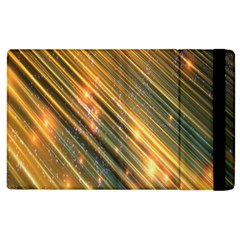 Golden Blue Lines Sparkling Wild Animation Background Space Apple Ipad 3/4 Flip Case by Mariart