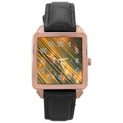 Golden Blue Lines Sparkling Wild Animation Background Space Rose Gold Leather Watch  by Mariart