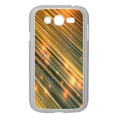 Golden Blue Lines Sparkling Wild Animation Background Space Samsung Galaxy Grand Duos I9082 Case (white) by Mariart