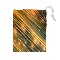 Golden Blue Lines Sparkling Wild Animation Background Space Drawstring Pouches (large)  by Mariart