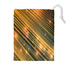 Golden Blue Lines Sparkling Wild Animation Background Space Drawstring Pouches (extra Large) by Mariart