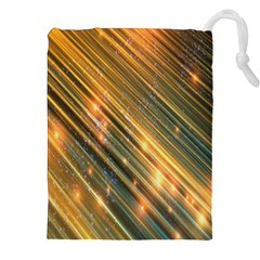 Golden Blue Lines Sparkling Wild Animation Background Space Drawstring Pouches (xxl) by Mariart