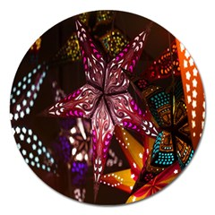 Hanging Paper Star Lights Magnet 5  (round) by Mariart