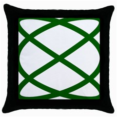 Lissajous Small Green Line Throw Pillow Case (black) by Mariart