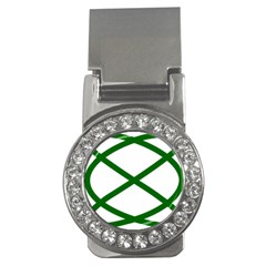 Lissajous Small Green Line Money Clips (cz)