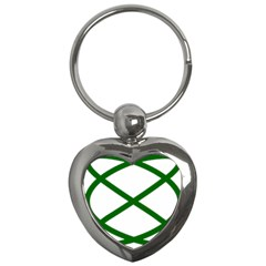 Lissajous Small Green Line Key Chains (heart)  by Mariart