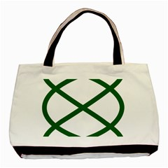 Lissajous Small Green Line Basic Tote Bag by Mariart