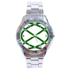Lissajous Small Green Line Stainless Steel Analogue Watch by Mariart