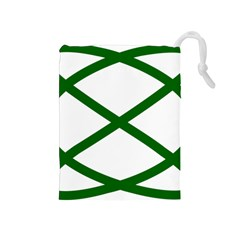 Lissajous Small Green Line Drawstring Pouches (medium)  by Mariart