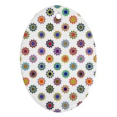 Flowers Pattern Recolor Artwork Sunflower Rainbow Beauty Ornament (oval) by Mariart