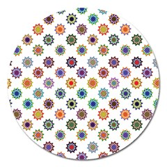 Flowers Pattern Recolor Artwork Sunflower Rainbow Beauty Magnet 5  (round) by Mariart