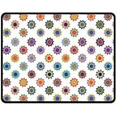 Flowers Pattern Recolor Artwork Sunflower Rainbow Beauty Fleece Blanket (medium)  by Mariart
