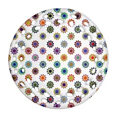 Flowers Pattern Recolor Artwork Sunflower Rainbow Beauty Ornament (round Filigree)