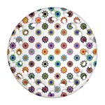 Flowers Pattern Recolor Artwork Sunflower Rainbow Beauty Ornament (Round Filigree) Front