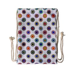 Flowers Pattern Recolor Artwork Sunflower Rainbow Beauty Drawstring Bag (small) by Mariart