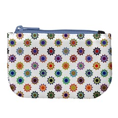Flowers Pattern Recolor Artwork Sunflower Rainbow Beauty Large Coin Purse by Mariart