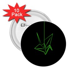 Origami Light Bird Neon Green Black 2 25  Buttons (10 Pack)