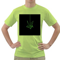 Origami Light Bird Neon Green Black Green T Shirt by Mariart