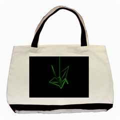 Origami Light Bird Neon Green Black Basic Tote Bag by Mariart