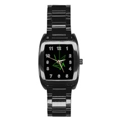 Origami Light Bird Neon Green Black Stainless Steel Barrel Watch by Mariart
