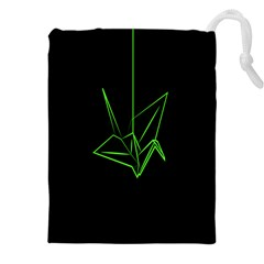 Origami Light Bird Neon Green Black Drawstring Pouches (xxl) by Mariart