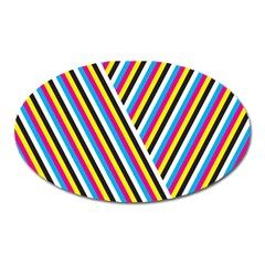 Lines Chevron Yellow Pink Blue Black White Cute Oval Magnet by Mariart