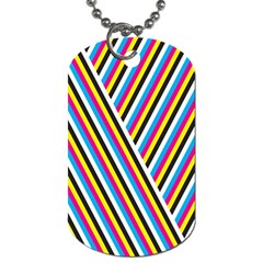 Lines Chevron Yellow Pink Blue Black White Cute Dog Tag (two Sides) by Mariart