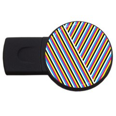 Lines Chevron Yellow Pink Blue Black White Cute Usb Flash Drive Round (2 Gb) by Mariart
