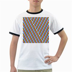 Lines Chevron Yellow Pink Blue Black White Cute Ringer T-shirts by Mariart