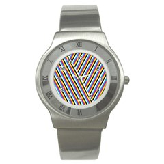 Lines Chevron Yellow Pink Blue Black White Cute Stainless Steel Watch by Mariart