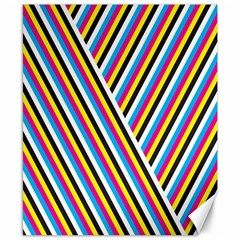 Lines Chevron Yellow Pink Blue Black White Cute Canvas 8  X 10  by Mariart