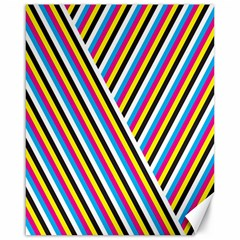 Lines Chevron Yellow Pink Blue Black White Cute Canvas 16  X 20   by Mariart