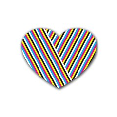 Lines Chevron Yellow Pink Blue Black White Cute Rubber Coaster (heart)  by Mariart