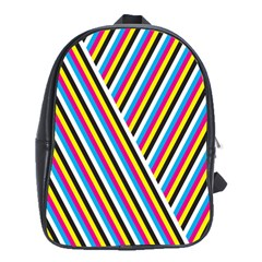 Lines Chevron Yellow Pink Blue Black White Cute School Bag (large)