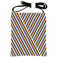 Lines Chevron Yellow Pink Blue Black White Cute Shoulder Sling Bags by Mariart