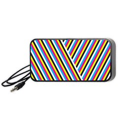 Lines Chevron Yellow Pink Blue Black White Cute Portable Speaker (black) by Mariart