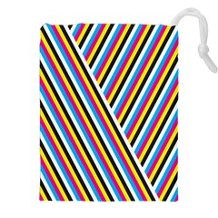 Lines Chevron Yellow Pink Blue Black White Cute Drawstring Pouches (xxl) by Mariart