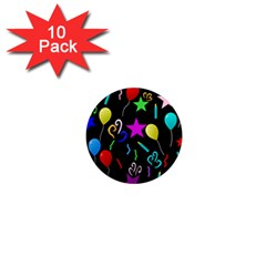 Party Pattern Star Balloon Candle Happy 1  Mini Magnet (10 Pack)  by Mariart