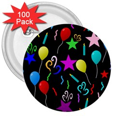 Party Pattern Star Balloon Candle Happy 3  Buttons (100 Pack)  by Mariart