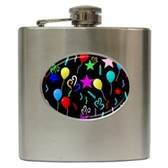 Party Pattern Star Balloon Candle Happy Hip Flask (6 Oz) by Mariart